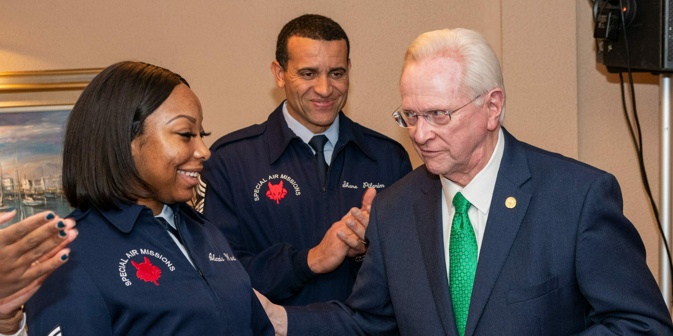 Left to right, SSgt. Alexis West, CMSgt. Shane Pilgrim, Chief, Enlisted Force Development, United States Space Force (former Command Chief, 89th Airlift Wing), Hon. M.H. Jim Estepp, President & CEO, Andrews Business & Community Alliance